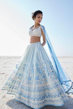 Designer Lehengas - Buy Inez Lehenga for Women Online - Blue - Anita Dongre Designer Bridal Lehenga, Bridal Lehenga Choli, Indian Lehenga, Indian Gowns, Indian Attire, Blue Lehenga, Lehenga Choli Designs, Lehenga Designs Latest, Ghagra Choli
