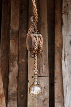 Set Segel Pendelleuchte rustikale Holz Scheune Riemenscheibe
