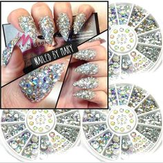 Mix 3Sizes about 300 Pcs Nail Art Tips Crystal Glitter Rhinestone 3D Nail Art Decoration white AB Color Acrylic Diamond Drill-in…