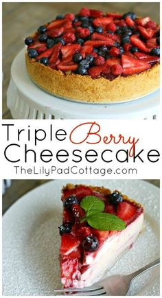 Delicious Triple Berry Cheesecake Recipe and Giveaway from http://www.thelilypadcottage.com