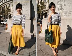 Amy He - River Island Mustard Midi Skirt, H&M Navy And White Striped Long Jersey Top, Topshop Tan Leather Ballet Flats, River Island Green Patent Gold Buckle Bag - Hello sun