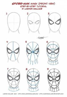 Spider-man's Mask Tutorial by *LostonWallace on deviantART (Baking Face Tutorial)Spider-man's Mask Tutorial by *LostonWallace on deviantART - Visit to grab an amazing super hero shirt now on sale!Most of you true believers already know how to draw the mas Marvel Drawings, Art Drawings Sketches, Disney Drawings, Cartoon Drawings, Easy Drawings, Drawing Superheroes, Spiderman Face, Spiderman Drawing, How To Draw Spiderman