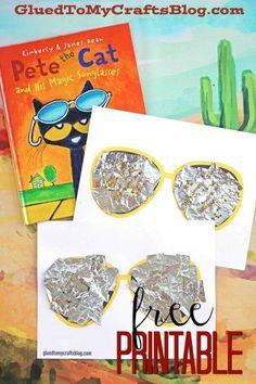 Mixed Media Sunglasses Kid Craft - Free Printable Pete the Cat Sunglasses Kid Craft Idea w/free printable template Preschool Books, Preschool Crafts, Crafts For Kids, Toddler Crafts, Preschool Jungle, Kindergarten Books, Cat Crafts, Book Crafts, Pete The Cat Art