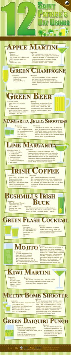 PATRICK'S DAY DRINKS – going green is much easier than you think – from green beer or champagne, to apple martinis or lime margaritas to a hot & loaded Irish coffee – think the drink menu is taken care of! Party Drinks, Cocktail Drinks, Fun Drinks, Yummy Drinks, Cocktail Recipes, Beverages, Green Cocktails, Alcoholic Drinks, Fete Saint Patrick
