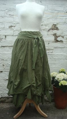 Upcycled Skirt Woman's Clothing Olive Green  Tribal Cotton Layers Woodland Gown…