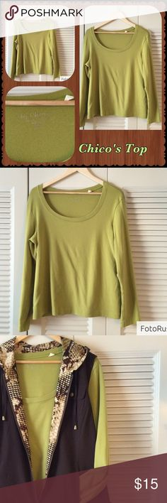 Chico's Long Sleeve Chartreuse Tee Soft and comfortable. Chico's long sleeve tee. Beautiful chartreuse color. Goes perfectly with the Chico's vest I have listed. BUNDLE  and SAVE or Make Your Offer Chico's Tops Tees - Long Sleeve
