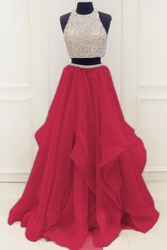 Red organza two pieces sequins A-line long prom dresses,simple evening dresses for teens