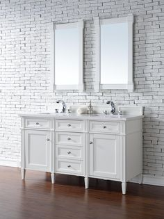 "Brittany 60"" Double Sink Bathroom Vanity Cabinet - Cottage White Finish - Pure White Countertop - Matching Mirrors"