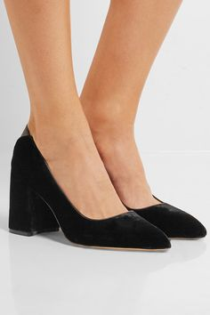 Heel measures approximately 70mm/ 3 inches Black velvet and leather | Sam Edelman