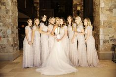 Gold Sequin Bridsmaid Gown | Bridesmaids in Adrianna Papell | photography by http://www.peppernix.com