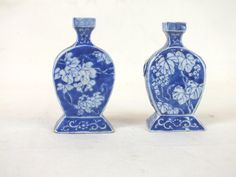 Miniature blue and white vases
