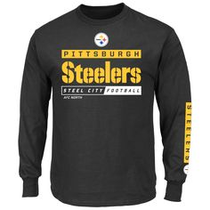 Pittsburgh Steelers Majestic Primary Receiver VII Long Sleeve T-Shirt - Black - $23.99