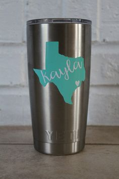 monogram yeti decal - love the mint Texas and script font!