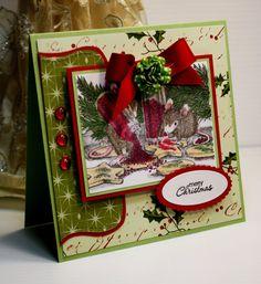 Christmas Card - Handmade Greeting Card - Merry Christmas - House Mouse - OOAK