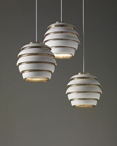 mid century pendant lights by Alvar Aalto, Early group of three 'Beehive' ceiling lights, model no. A 331, circa 1953/54