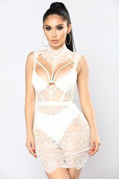 Without A Trace Lace Dress - White – Fashion Nova Black Lace Jumpsuit, Lace Dress Black, Lace Skirt, Mini Vestidos, Fashion Nova Models, Little White Dresses, White Fashion, Women's Fashion, Fashion Poses