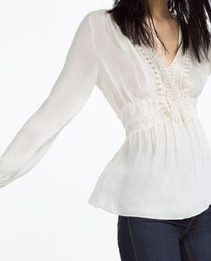 Image 2 of BLOUSE WITH GUIPURE LACE FRONT from Zara