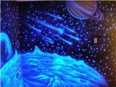 Tropical beach glow in the dark mural beach nocturnal for Blacklight bedroom designs