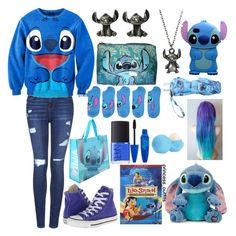 """Stitch outfit"" by happyloves ❤ liked on Polyvore featuring Topshop, Disney, Pink Stitch, Converse, NARS Cosmetics and Eos"