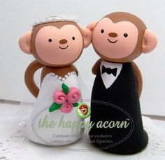 Wedding Cake Topper Monkeys by TheHappyAcorn on Etsy
