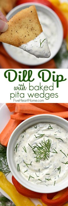 Dreamy Dill Dip with Baked Pita Wedges ~ simple and delicious, this dip features a base of Greek yogurt and sour cream flavored with fresh dill, making it perfect for a variety of dippers, from crunchy veggies to pita chips!   http://FiveHeartHome.com