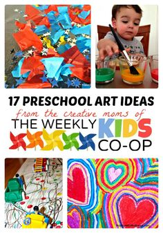17 Creative Preschool Art Ideas from The Weekly Kids Co-Op at B-Inspired Mama. Pinned by Generation iKid