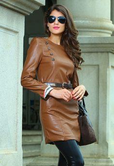 Blue Stylish Neutral European Autumn&Winter Leather Fashion DressLC2965    winter dresses new fashion 2013  $56.84