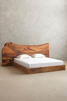 Live Edge Wood King Bed by Anthropologie Oyster King Furniture King Furniture, Live Edge Furniture, Unique Furniture, Home Furniture, Furniture Design, Rustic Furniture, Diy Bett, Live Edge Wood, Wood Beds