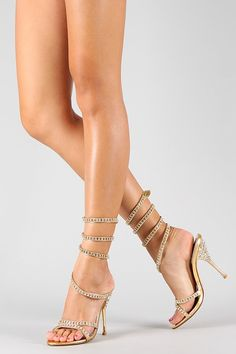 Sandália Importada em Strass - Dourada (01 par - N35) (N37) - Nina Belly Acessórios Femininos Importados