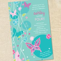 Gorgeous Butterfly Invitations for Girl's Birthdays and Baby Showers by Sweet Wishes Stationery