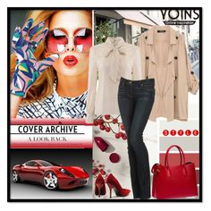 """Yoins Khaki Coat"" by sirena39 ❤ liked on Polyvore featuring Ferrari, Prada, NARS Cosmetics and Paige Denim"