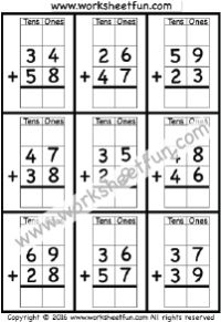 2 Digit Addition With Regrouping – Carrying – 5 Worksheets / FREE Printable Worksheets Mental Maths Worksheets, Math Coloring Worksheets, First Grade Math Worksheets, Measurement Worksheets, Printable Math Worksheets, Addition Worksheets, Subtraction Worksheets, School Worksheets, Subtraction Regrouping