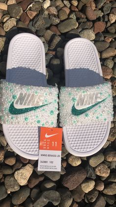 Customized by SprinkleMyFeet! You can find us on FB @SprinkleMyFeet or Instagram @sprinkle_myfeet Nike Sandals, Nike Flats, Cute Uggs, Sneakers Fashion, Fashion Shoes, Cute Slides, Nike Slippers, Bling Shoes, Fresh Shoes