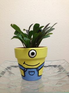 Minion hand painted pot with live plant by Shopntreasures on Etsy