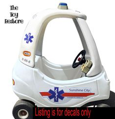 Ambulance Custom: New Replacement Decals Stickers for Little Tikes Cozy Coupe II Ride On no eyes Cozy Coupe Truck, Little Tykes Car, Little Tikes Makeover, Cozy Coupe Makeover, Kids Play Equipment, Truck Stickers, Mermaid Crafts, Garbage Truck, Ride On Toys