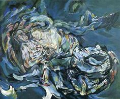 """The Tempest/Bride of the Wind"", oil on canvas painting by Oskar Kokoschka, a self-portrait expressing his unrequited love for Alma Mahler (widow of composer Gustav Mahler), 1913 Gustav Klimt, Gustav Mahler, Henri Matisse, Wassily Kandinsky, Romance Arte, Pure Romance, Art Dégénéré, Alma Mahler, Art Romantique"