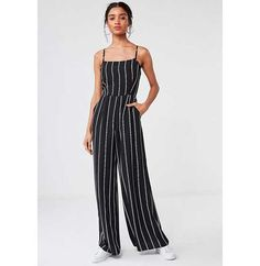 Black and White Striped Wide Legged Long Jumpsuit Outfit All White Outfit, White Outfits, Off Shoulder Fashion, Long Romper, Jumpsuit Outfit, Long Jumpsuits, Striped Jumpsuit, Denim Outfit, Trending Outfits