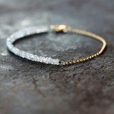White Gemstone Bracelet Bridal Wedding Jewelry Zircon Precious Gem Gold Chain Delicate Handmade Jewelry on Etsy, $98.00
