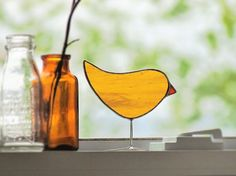 Mustard Yellow Glass Autumn Chick Ornament Stained by SNLCreations