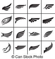 Illustration of Wings design elements set in different styles vector illustration vector art, clipart and stock vectors. Wings Icon, Gravure Laser, Wings Drawing, Wings Logo, Tattoo Wings, Wings Design, Grafik Design, Logo Design Inspiration, Graphic