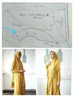 Diy Fashion Scarf, Hijab Fashion, Fashion Dresses, Sewing Tutorials, Sewing Projects, Sewing Patterns, Hijab Dress, Pattern Drafting, Niqab