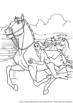 Spirit Riding Free Abigail and Boomerang Coloring Page
