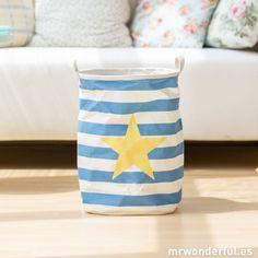 Cesto de lona con rayas y estrella - Color azul #decor #home #decoracion #decoration