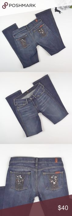 7 For All Mankind bling pocket bootcut jeans.Sz 25 7 For All Mankind bling pocket bootcut jeans. Size 25. Light stretch.  Excellent condition.  Inseam=30 inches Rise=7 inches Flare=7 inches 7 For All Mankind Jeans Boot Cut