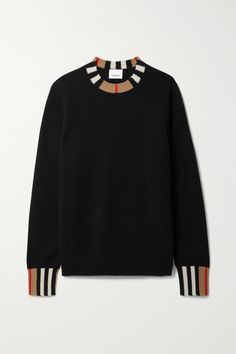 The crew neck and cuffs of Burberry's sweater are patterned with stripes in the same hues as the house's iconic check motif. It's knitted from soft cashmere for a slightly loose fit. Wear yours tucked into tailoring or jeans. Fashion Advice, Fashion News, Burberry Outfit, Black Sweaters, Cashmere Sweaters, Black Stripes, Knitwear, Crew Neck, Menswear