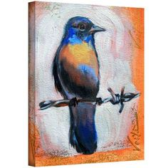 ArtWall Susi Franco Bird on a Wire Gallery-wrapped Canvas, Size: 24 x 32, Blue