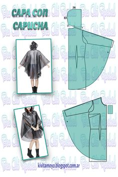 KiVita MoYo: HOODED COAT Related posts:Knows stitches, everyone knows the knowledge skills and habits in line Free Headband Tutorials - TestedPink and black Easy Sewing Patterns, Clothing Patterns, Dress Patterns, Techniques Couture, Sewing Techniques, How To Make Clothes, Diy Clothes, Cape Pattern, Pattern Drafting