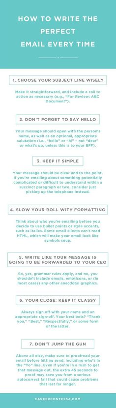 Email has become the name of the game when it comes to professional communications. But it doesn't come without it's own set of etiquette. Use this handy guide to write the best email every time. | CareerContessa.com