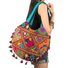 Tribe Azure Colorful Handmade Women Tote Shoulder Bag Purse Tassel Casual Boho Beach Fashion Everyday (Turquoise) - Bags and Purses 👜 Boho Beach Style, Accesorios Casual, Boho Bags, Canvas Handbags, Fabric Bags, Purses And Handbags, Diy Bags Purses, Bunt, Everyday Fashion