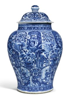 A BLUE AND WHITE 'LADIES' JAR AND COVER QING DYNASTY, KANGXI PERIOD Estimate…